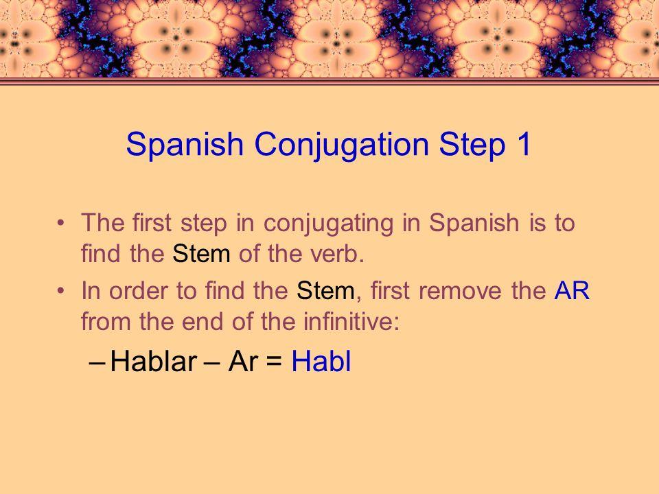 Spanish Conjugation Step 1