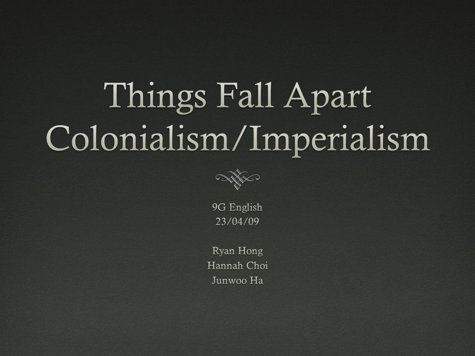 "colonialism in things fall apart essays Chinua achebe examined colonialism and masculinity with a sensitive understanding about how ""things fall apart in his recent book of essays."