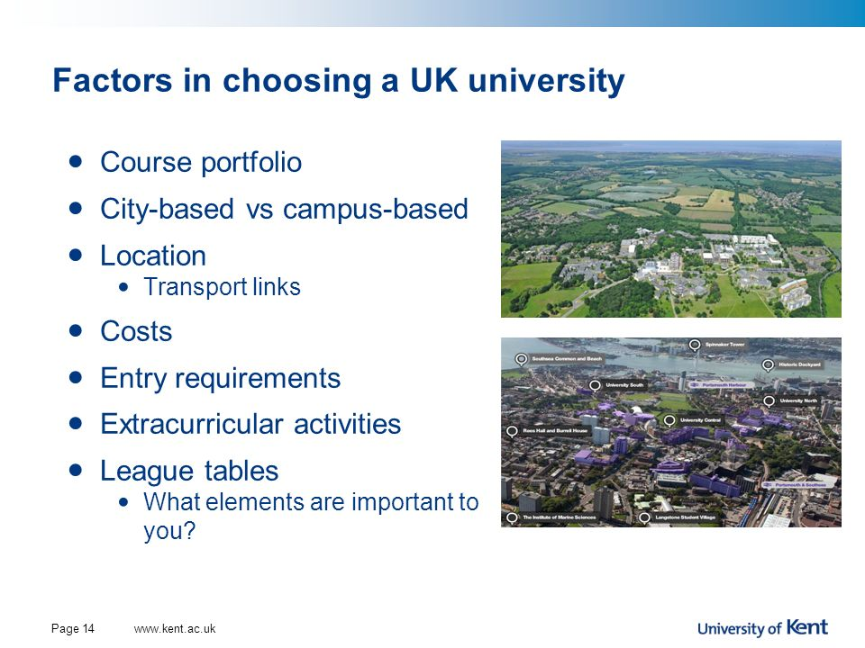 Factors in choosing a UK university