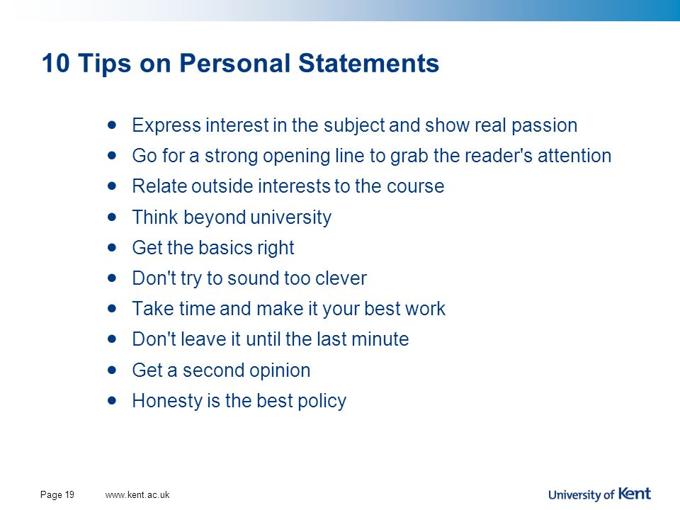 10 Tips on Personal Statements