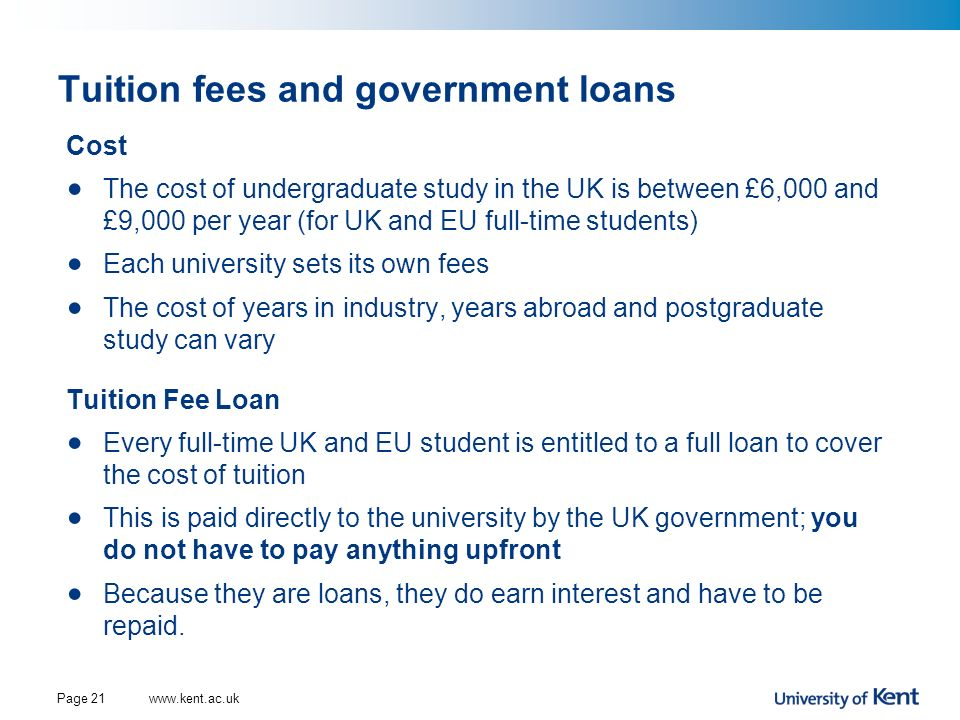 Tuition fees and government loans