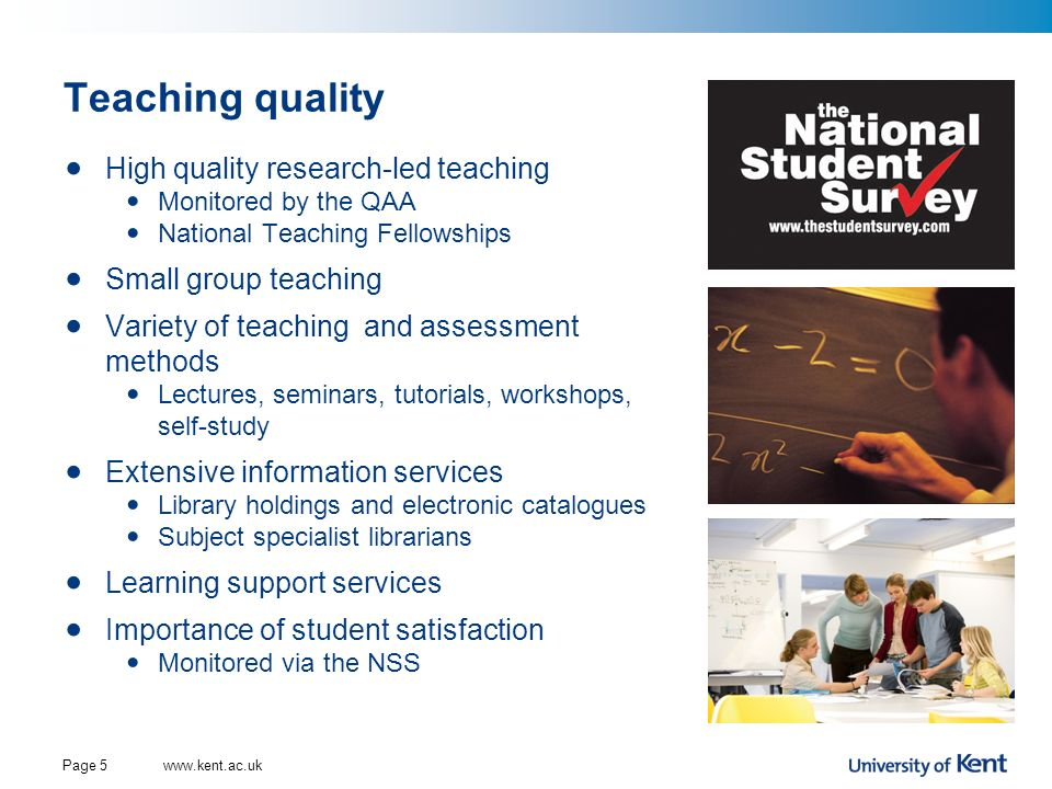 Teaching quality High quality research-led teaching