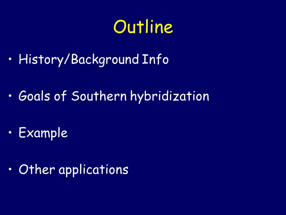 Outline History/Background Info Goals of Southern hybridization
