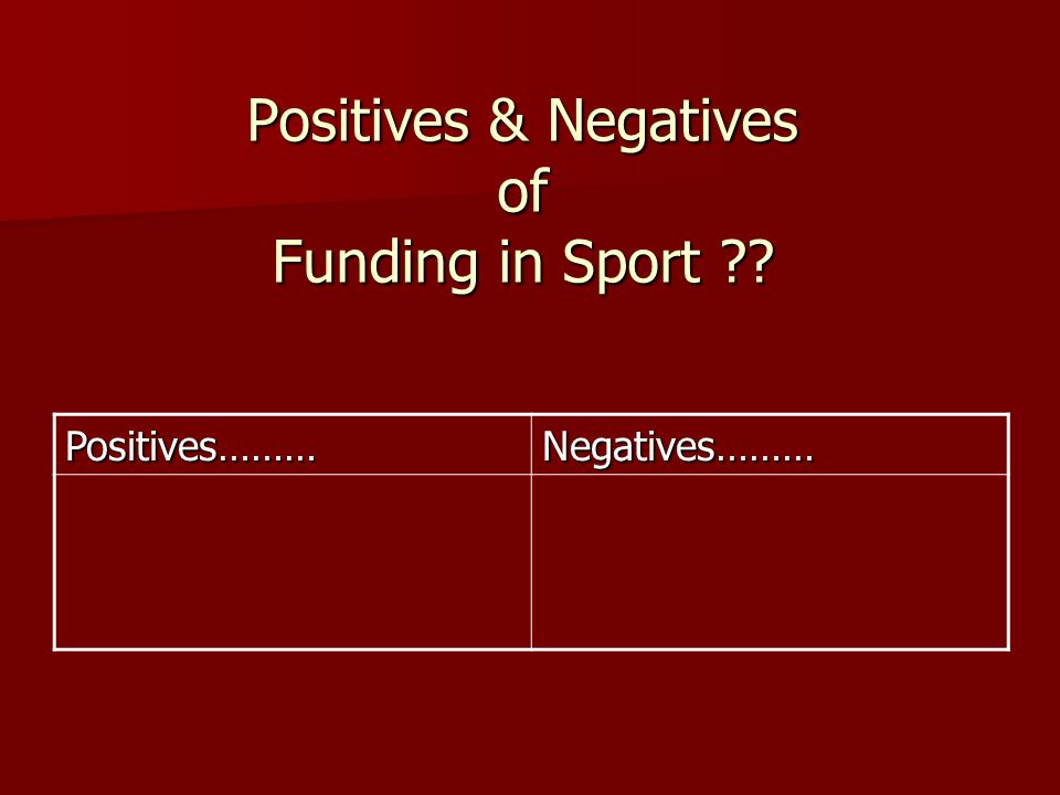 Positives & Negatives of Funding in Sport