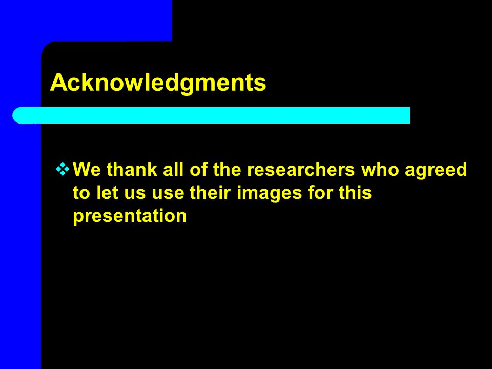 Acknowledgments We thank all of the researchers who agreed to let us use their images for this presentation.