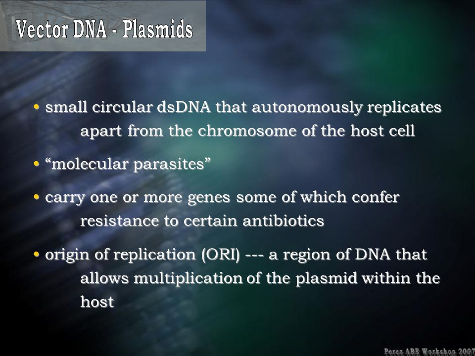 Vector DNA - Plasmids small circular dsDNA that autonomously replicates apart from the chromosome of the host cell.