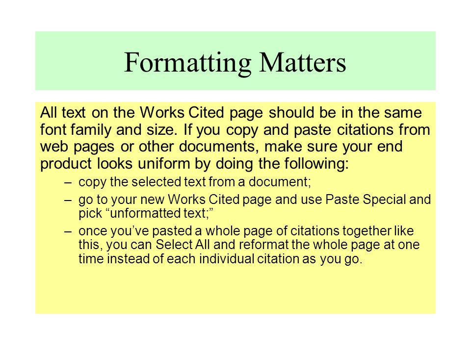 Formatting Matters
