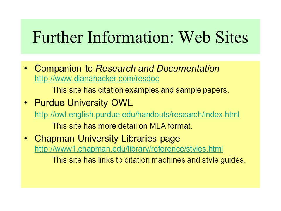 Further Information: Web Sites