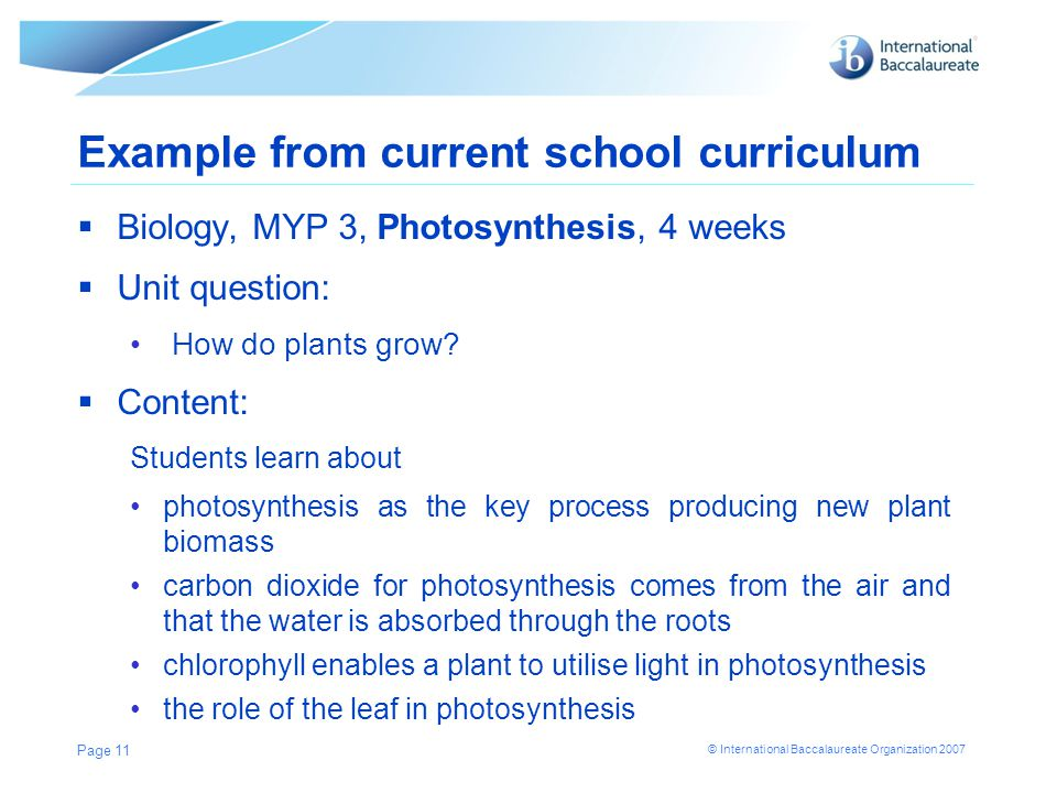 Example from current school curriculum