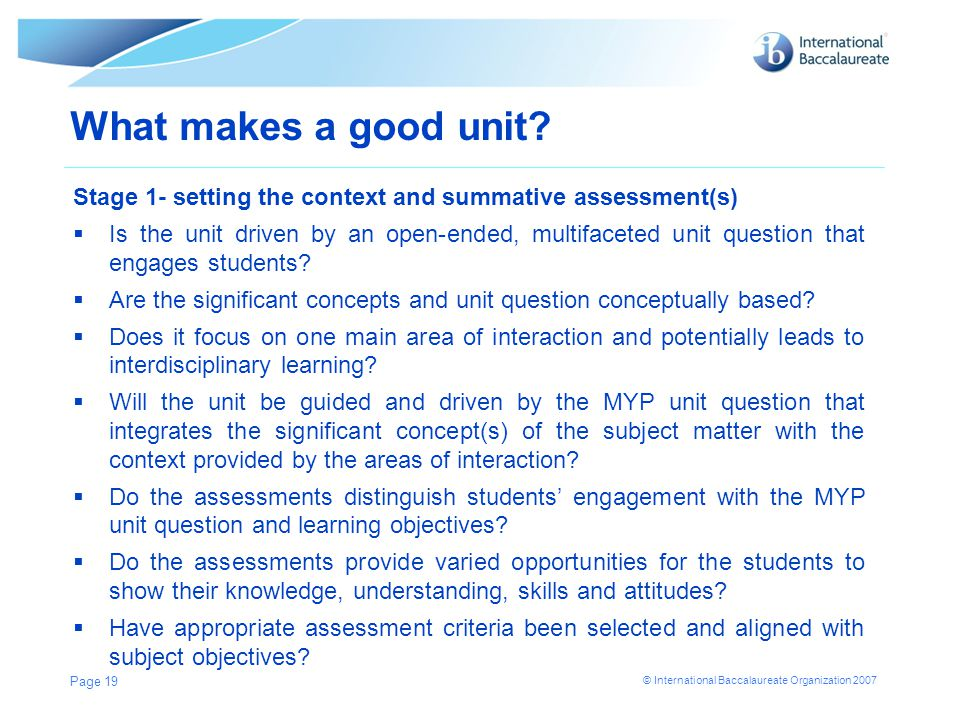 What makes a good unit Stage 1- setting the context and summative assessment(s)