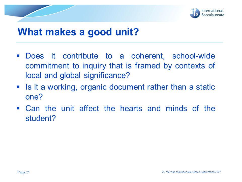What makes a good unit