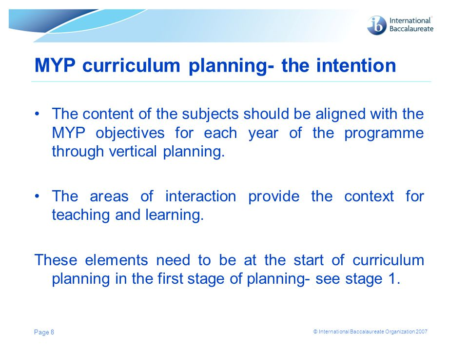 MYP curriculum planning- the intention