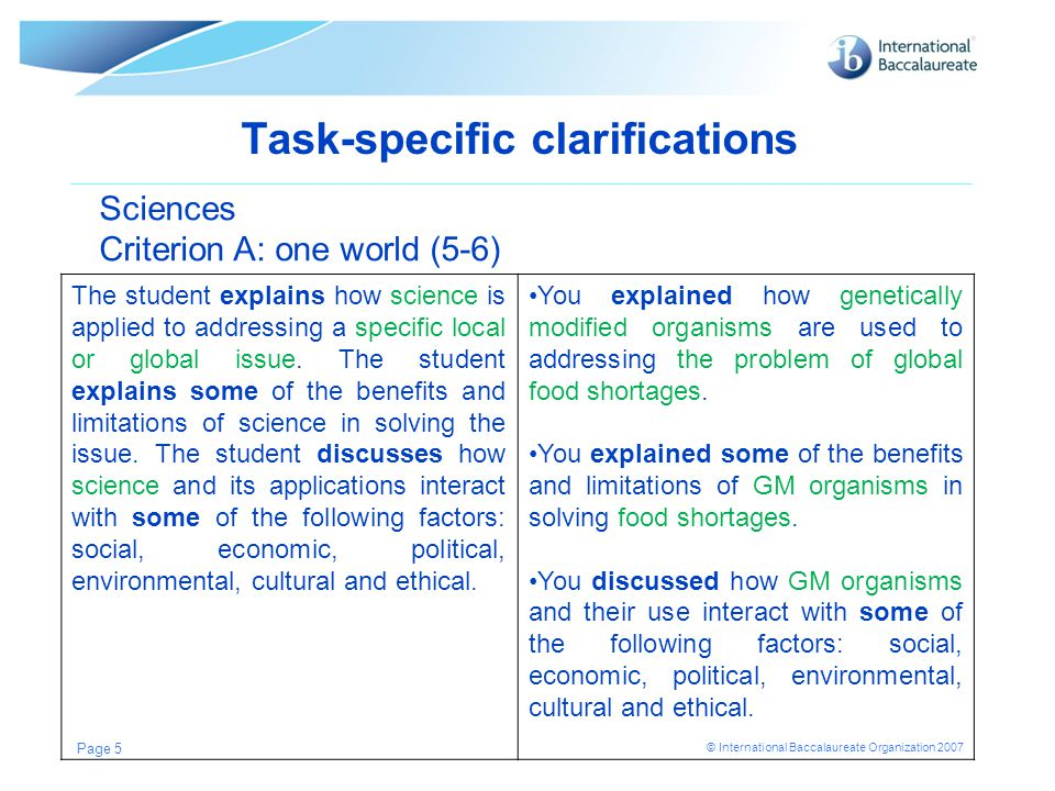 Task-specific clarifications