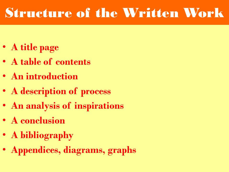 Structure of the Written Work