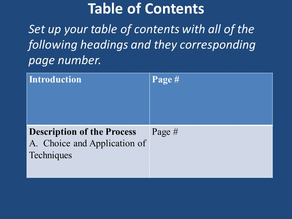 Table of Contents Set up your table of contents with all of the following headings and they corresponding page number.