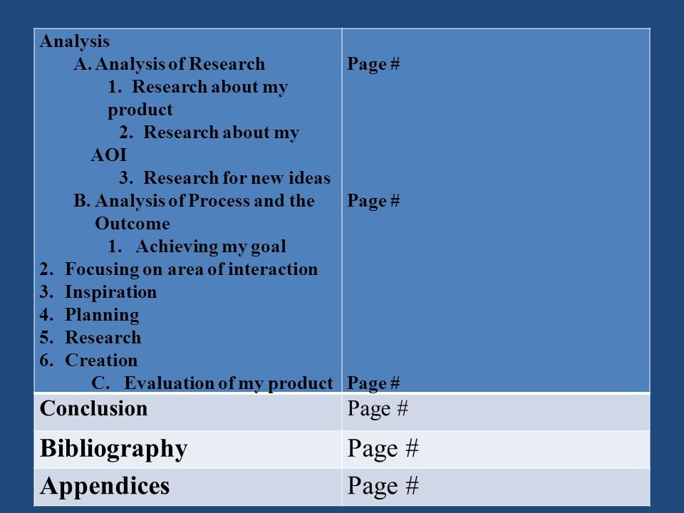 Bibliography Appendices Conclusion Analysis Analysis of Research