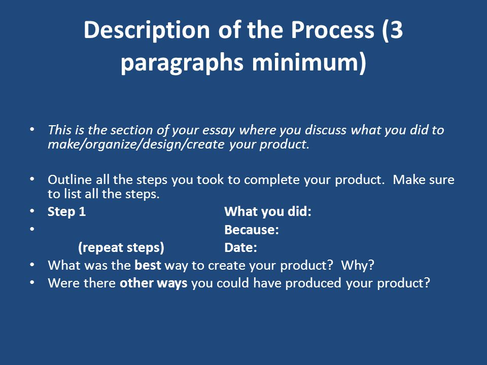 Description of the Process (3 paragraphs minimum)