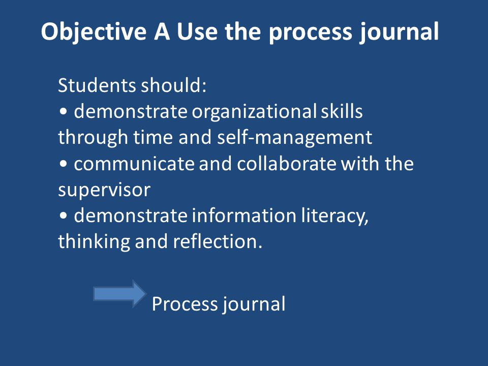 Objective A Use the process journal