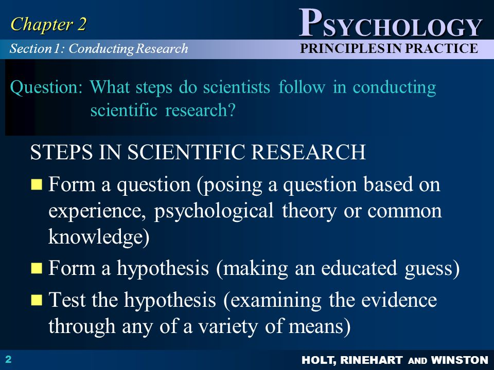 STEPS IN SCIENTIFIC RESEARCH
