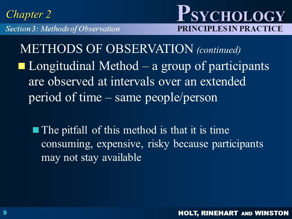 METHODS OF OBSERVATION (continued)