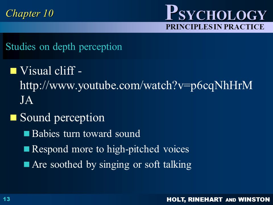 Studies on depth perception