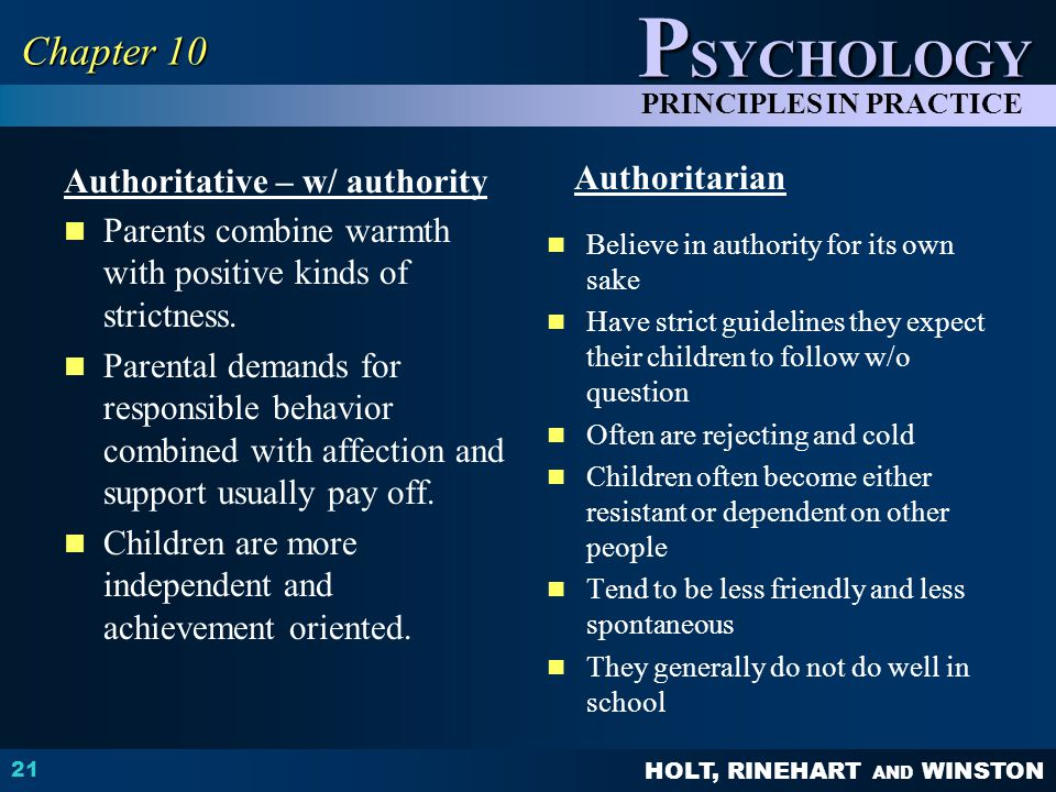 Chapter 10 Authoritative – w/ authority Authoritarian
