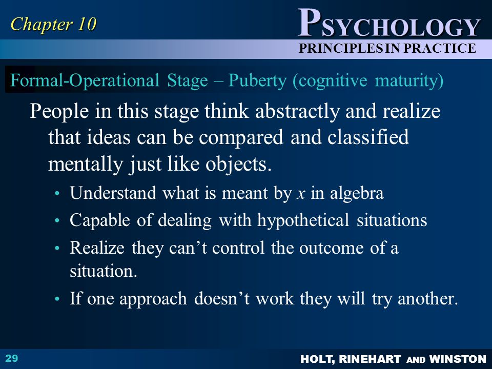 Formal-Operational Stage – Puberty (cognitive maturity)