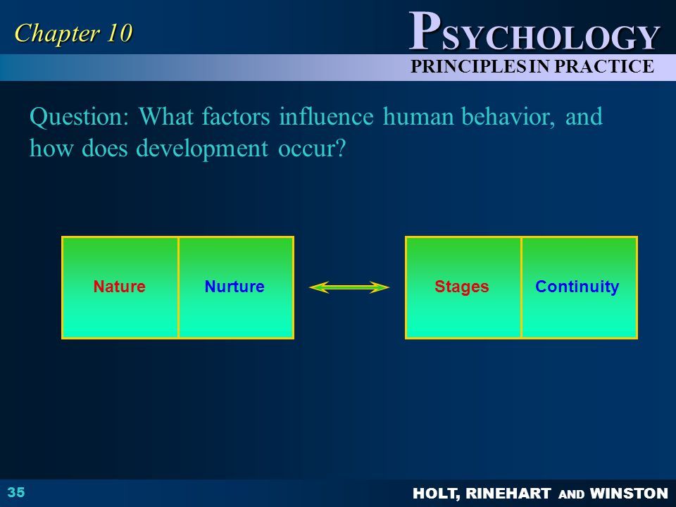 Chapter 10 Question: What factors influence human behavior, and how does development occur Nature.