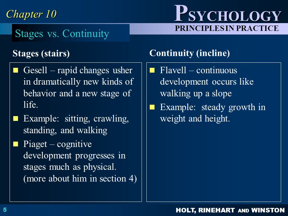 Chapter 10 Stages vs. Continuity Continuity (incline) Stages (stairs)