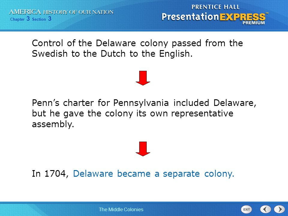 Control of the Delaware colony passed from the Swedish to the Dutch to the English.