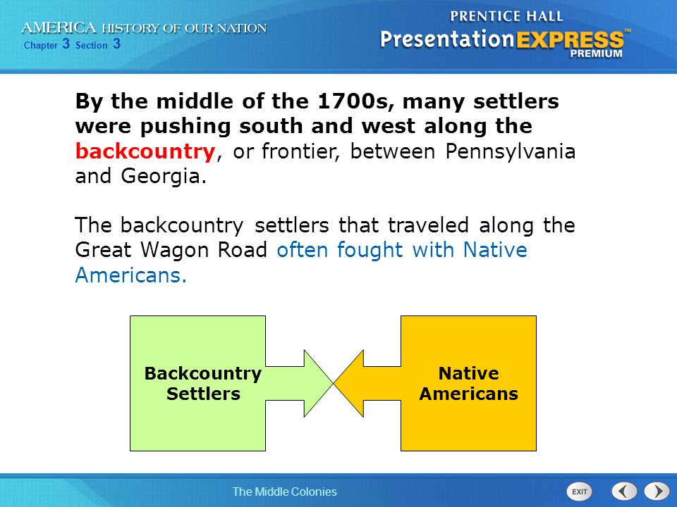 By the middle of the 1700s, many settlers were pushing south and west along the backcountry, or frontier, between Pennsylvania and Georgia.