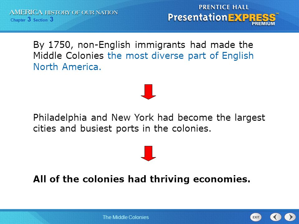 By 1750, non-English immigrants had made the Middle Colonies the most diverse part of English North America.
