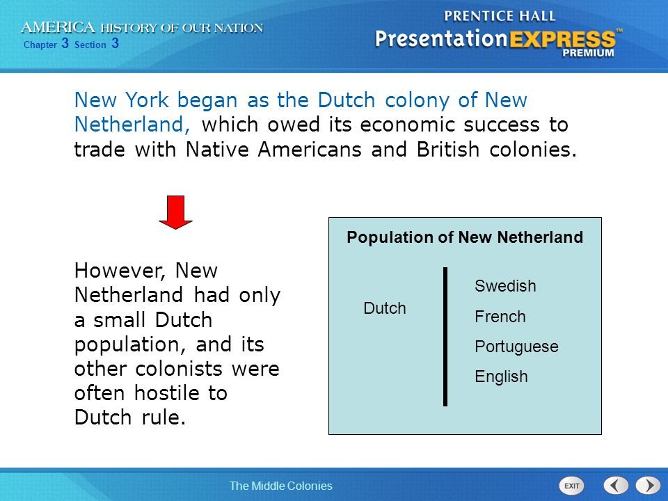 New York began as the Dutch colony of New Netherland, which owed its economic success to trade with Native Americans and British colonies.
