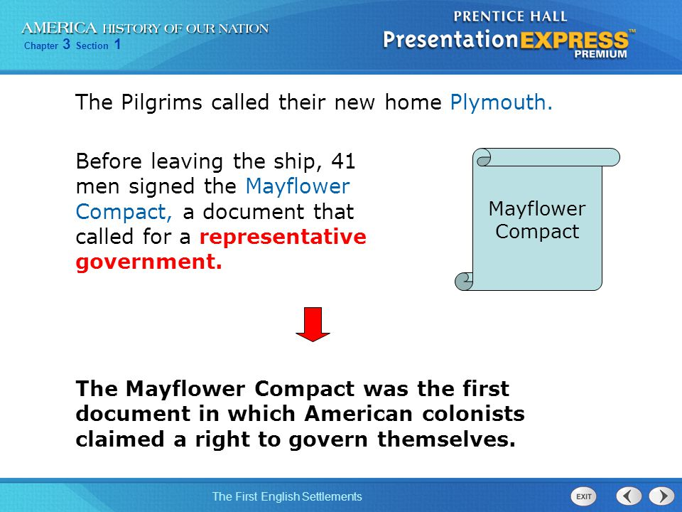 The Pilgrims called their new home Plymouth.