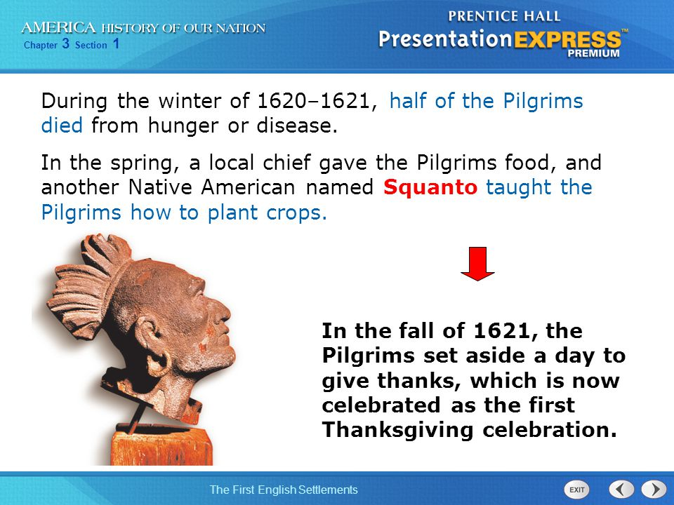 During the winter of 1620–1621, half of the Pilgrims died from hunger or disease.