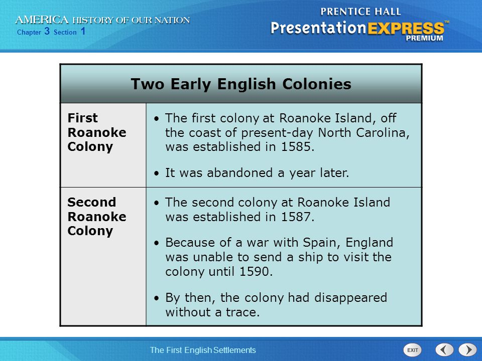 Two Early English Colonies