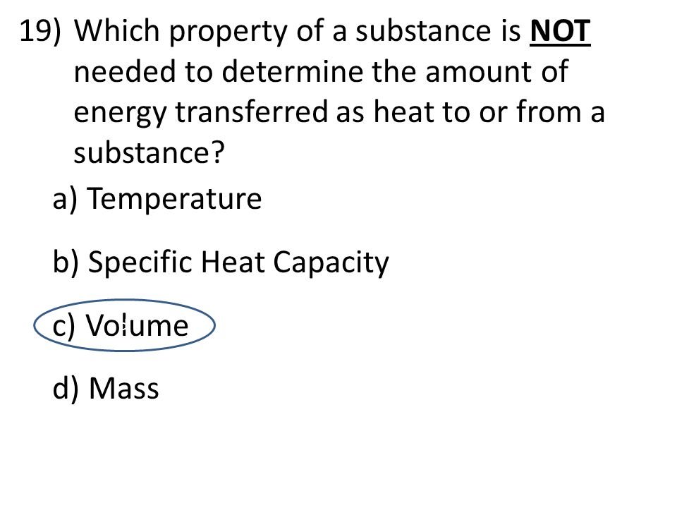 Specific Heat Capacity Volume Mass