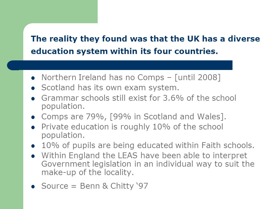 The reality they found was that the UK has a diverse education system within its four countries.
