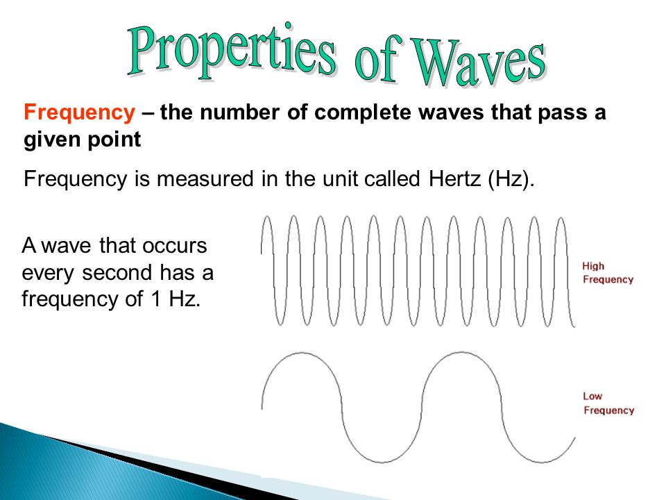 Properties of Waves Frequency – the number of complete waves that pass a given point. Frequency is measured in the unit called Hertz (Hz).