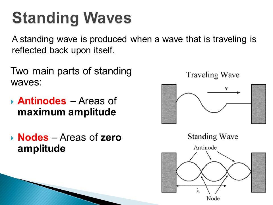 Standing Waves Two main parts of standing waves: