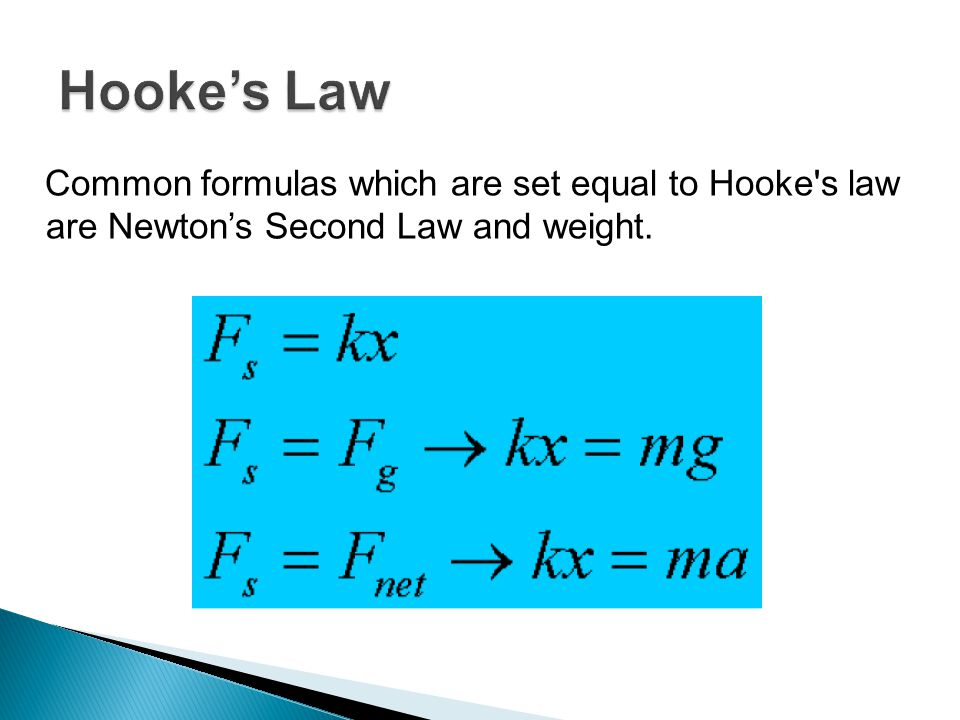 Hooke's Law Common formulas which are set equal to Hooke s law are Newton's Second Law and weight.