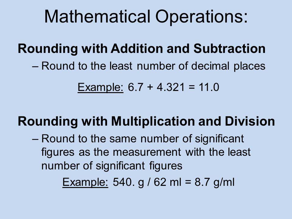 Mathematical Operations: