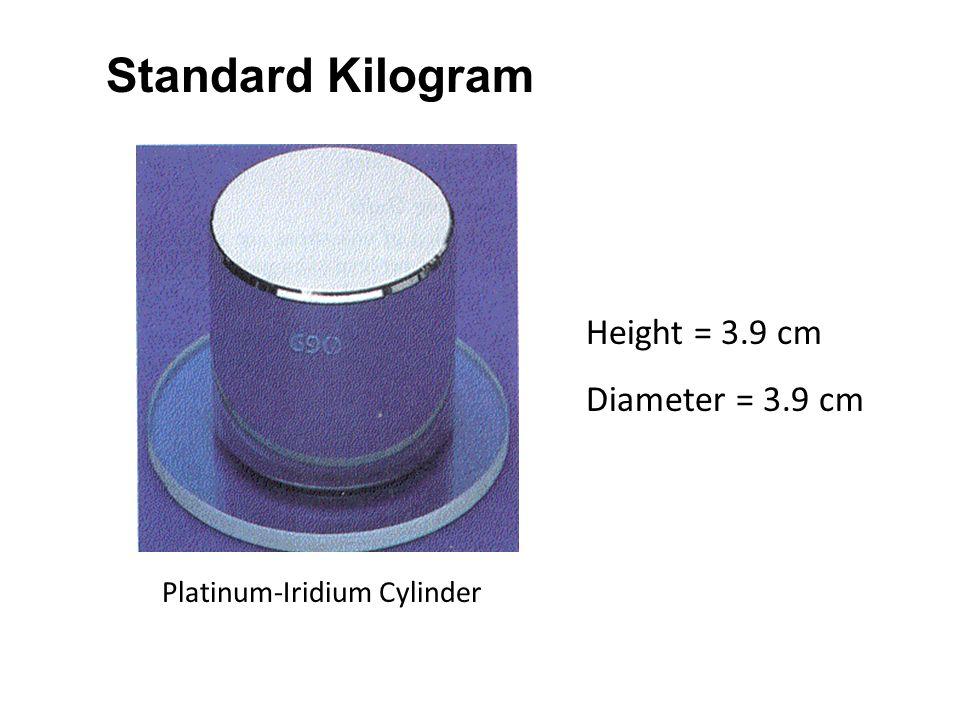 Standard Kilogram Height = 3.9 cm Diameter = 3.9 cm