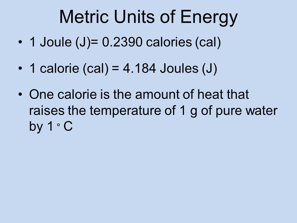 Metric Units of Energy 1 Joule (J)= 0.2390 calories (cal)