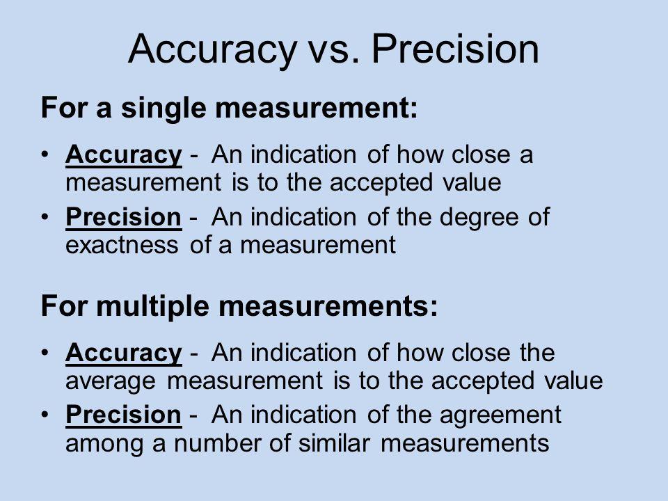 Accuracy vs. Precision For a single measurement: