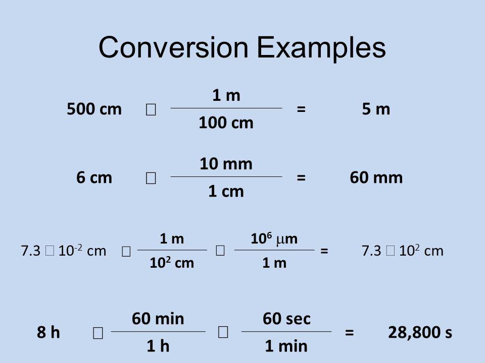 Conversion Examples 500 cm ´ 1 m = 5 m 100 cm 6 cm ´ 10 mm = 60 mm
