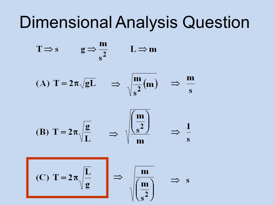 Dimensional Analysis Question