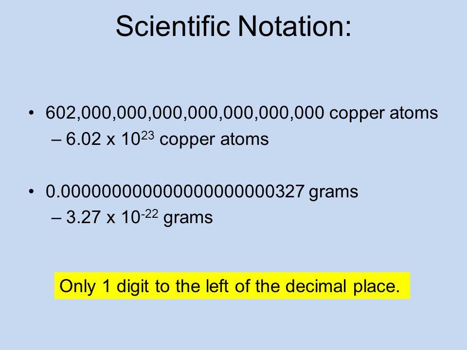 Scientific Notation: 602,000,000,000,000,000,000,000 copper atoms