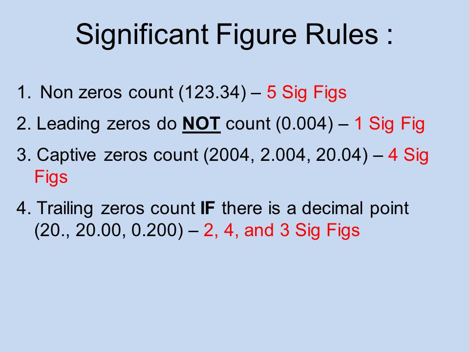 Significant Figure Rules :