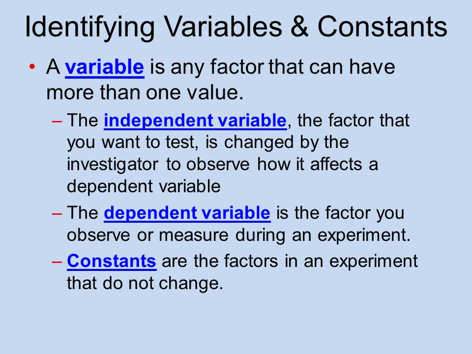 Identifying Variables & Constants
